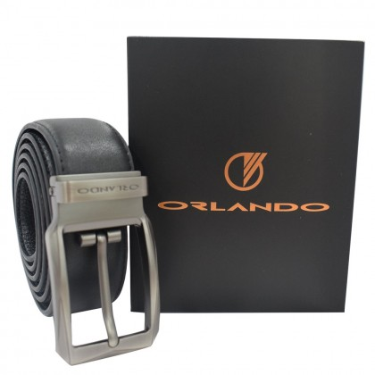 Orlando Men Pin Buckle Leather Belt Black Size 132cm (RL02020B172)