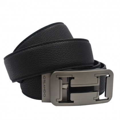 Orlando Men Autolock Leather Belt Black Size 132cm (RL02029B172)