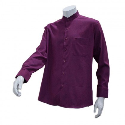 Orlando Men's Long Sleeve Mandarin Collar Shirt (Blue Violet-27)