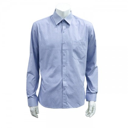Thomas London Men's Long Sleeve Jacquard Shirt (Blue-33)