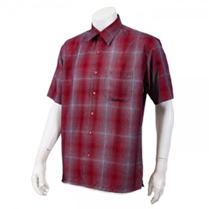 Orlando Men's Short Sleeve Check Shirt (Red-77)