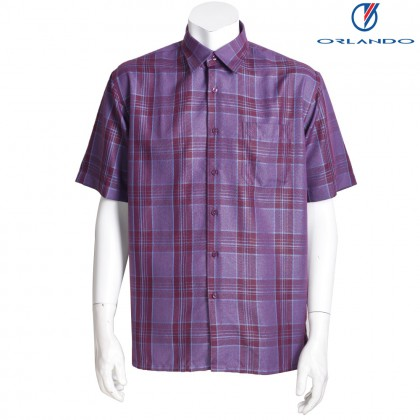 Orlando Men's Short Sleeve Checks Red Shirt