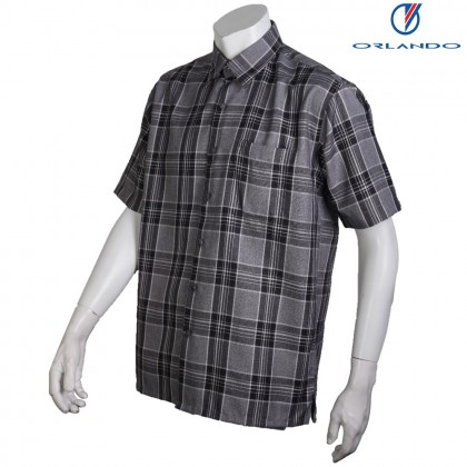 Orlando Men's Short Sleeve Checks Black Shirt