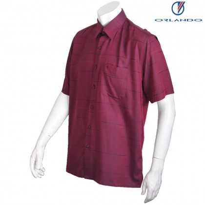 Orlando Men's Short Sleeve Printed Jacquard Red Shirt