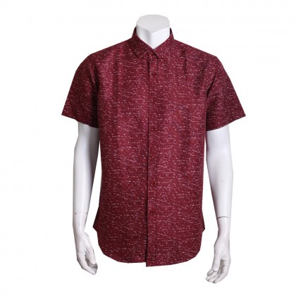 Thomas London Men's Short Sleeve Floral Printed Jacquard Shirt (Maroon)