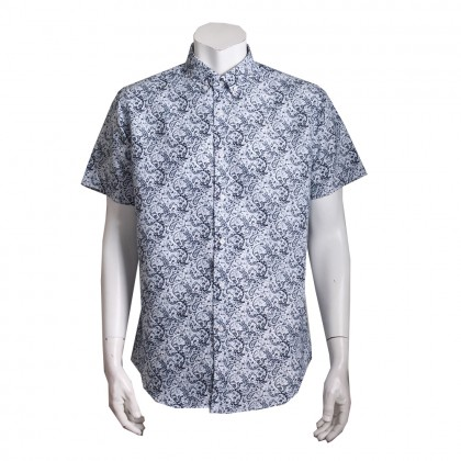 Thomas London Men's Short Sleeve Floral Printed Jacquard Shirt (White)