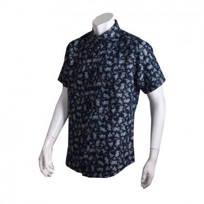 Thomas London Men's Short Sleeve Floral Printed Jacquard Shirt (Navy)