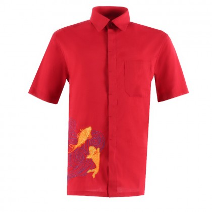ORLANDO MEN SHORT SLEEVE JACQUARD EMBROIDERY SHIRT (FISH)