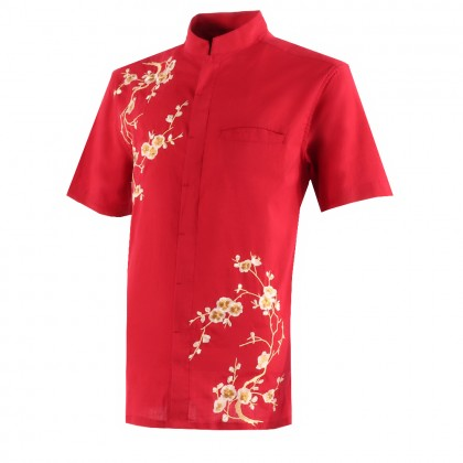 ORLANDO MEN SHORT SLEEVE JACQUARD EMBROIDERY SHIRT (BLOOMS)
